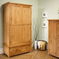 Woburn Oak 2 Door 2 Drawer Wardrobe Brown