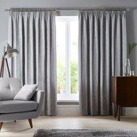 Parker Grey Chenille Pencil Pleat Curtains Grey