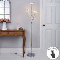 image-Alanli 3 Arm Integrated LED Flower Chrome Floor Lamp Chrome, Clear