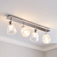 image-Bremont 4 Light Ribbed Glass Bathroom Spotlight Bar Clear, Chrome