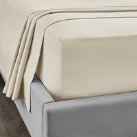 Dorma 300 Thread Count 100% Cotton Sateen Plain Flat Sheet Cream