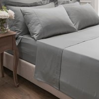 Dorma 300 Thread Count 100% Cotton Sateen Plain Flat Sheet Silver