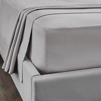 Dorma 300 Thread Count 100% Cotton Sateen Plain Flat Sheet Silver