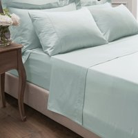 Dorma 300 Thread Count 100% Cotton Sateen Plain Flat Sheet Seafoam