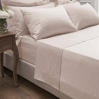 Dorma 300 Thread Count 100% Cotton Sateen Plain Flat Sheet Blush