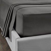 Dorma 300 Thread Count 100% Cotton Sateen Plain Flat Sheet Slate