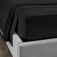 Dorma 300 Thread Count 100% Cotton Sateen Plain Flat Sheet Black