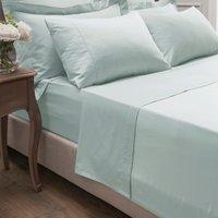 Dorma 300 Thread Count 100% Cotton Sateen Plain Flat Sheet Seafoam