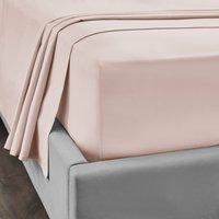 Dorma 300 Thread Count 100% Cotton Sateen Plain Flat Sheet Blush