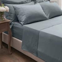 Dorma 300 Thread Count 100% Cotton Sateen Plain Flat Sheet Denim