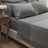 Dorma 300 Thread Count 100% Cotton Sateen Plain Flat Sheet Slate