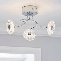 image-Alanli 3 Light Integrated LED Flower Semi-Flush Ceiling Fitting Chrome, Clear