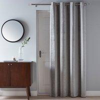 Parker Grey Chenille Eyelet Door Curtain Grey