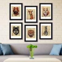 Animal Newspaper Framed Wall Art Natural