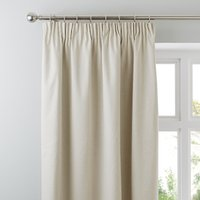 Luna Brushed Natural Blackout Pencil Pleat Curtains Natural