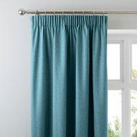 Luna Teal Blackout Pencil Pleat Curtains Teal (Blue)