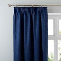 Luna Brushed Navy Blackout Pencil Pleat Curtains Navy Blue