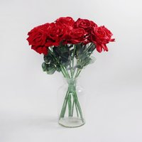 image-12pk Artificial Rose Red Stem 62cm Red