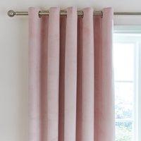Ashford Blush Velour Eyelet Curtains Blush Pink