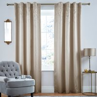 Swirl Sequin Champagne Hidden Tab Top Curtains Champagne
