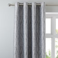 Linear Waves Silver Eyelet Curtains Silver