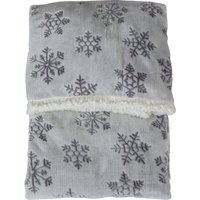 image-Embossed Snowflake Silver Sherpa Throw Silver