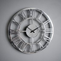 image-Pavia Polished Aluminium Wall Clock Silver