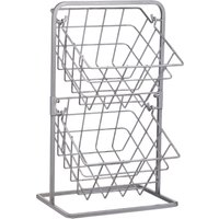 image-Industrial Kitchen Two Tier Wire Storage Baskets Silver