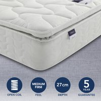 Silentnight Medium Firm Miracoil Pillowtop Mattress White