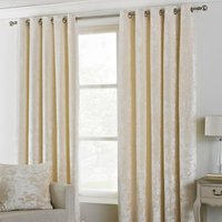 Verona Ivory Velvet Eyelet Curtains Cream