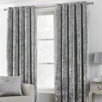 Verona Silver Velvet Eyelet Curtains Silver