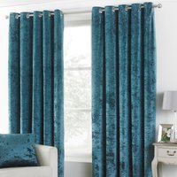 Verona Teal Velvet Eyelet Curtains Teal (Blue)
