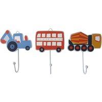 Set of 3 Transport Wall Hooks MultiColoured