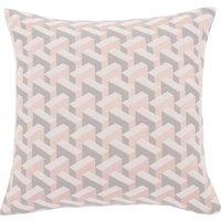 image-Geometric Pink Jacquard Cushion Cover Pink