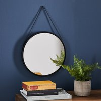 image-Round Hanging Chain Wall Mirror 31cm Black Black
