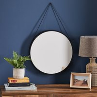 image-Round Hanging Chain Wall Mirror 45cm Black Black