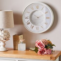 image-Antique Mirror Effect 36cm Wall Clock White Antique Cream