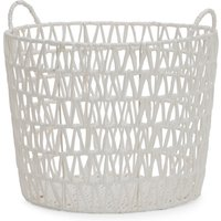 image-Tapered White Paper Rope Storage Basket White