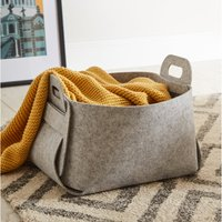 image-Foldable Grey Felt Storage Basket Grey