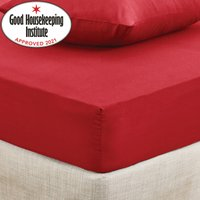 Non Iron Plain Fitted Sheet Red