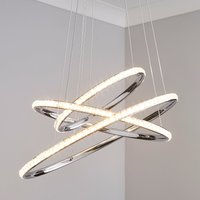image-Cali 3 Light Integrated LED Hoop Crystal Ceiling Fitting Chrome