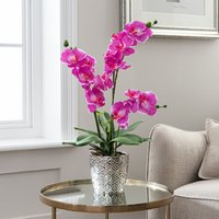 image-Artificial Orchid Pink in Silver Vase 28cm