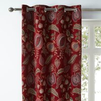 Edina Red Chenille Eyelet Curtains Red