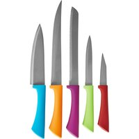 5 Piece Colour Soft Grip Knife Set MultiColoured