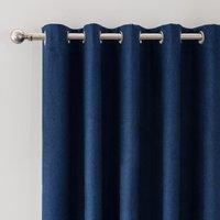 Luna Brushed Navy Blackout Eyelet Door Curtain Navy Blue