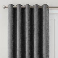 Chenille Grey Thermal Eyelet Door Curtain Grey