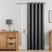 Chenille Grey Thermal Eyelet Door Curtain Grey