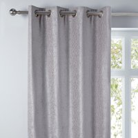Chenille Silver Wave Eyelet Curtains Silver