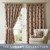 Betsy Natural Chenille Jacquard Pencil Pleat Curtains Brown and Red