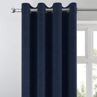 Cloudmont Chenille Navy Thermal Eyelet Curtains Navy